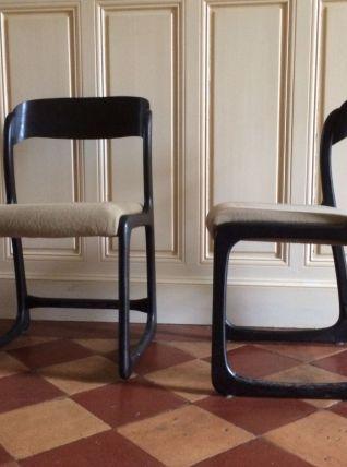 Paire de chaises traineau Baumann