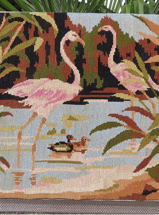 Canevas Flamant rose Flamingo des années 50/60