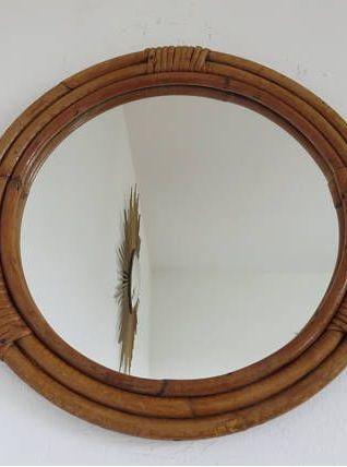 Miroir en rotin bambou rond ann es 60 70 luckyfind for Miroir rond 60
