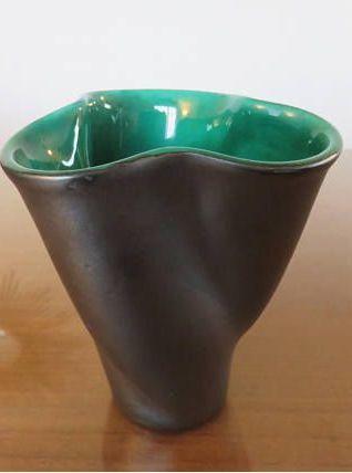 Vase en céramique ELCHINGER forme libre signé années 50 60