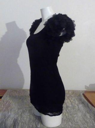 Tunique En Dentelle Noire Petites Manches- Taille 36- Flsams