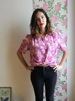 Mimi - Chemisier vintage rose à taches de couleurs