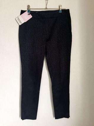Pantalon bleu nuit brodé léopard Taille 36