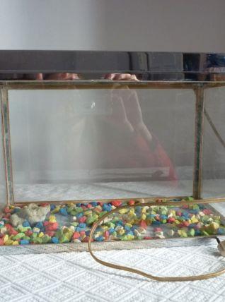 Aquarium ancien en inox et zinc