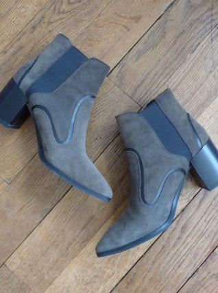 Bottines Low Boots En Daim Marron- Pointure 36- Zara