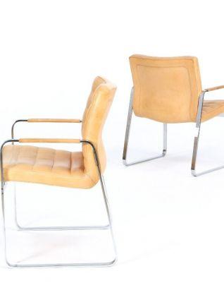 2 Fauteuils acier/cuir – Jorgen Lund Ole Larsen