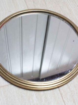 plateau miroir rond laiton doré