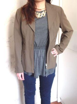 Veste blazer marron vintage zip neuve