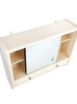armoire de toilette vintage en bois vitre miroir luckyfind. Black Bedroom Furniture Sets. Home Design Ideas