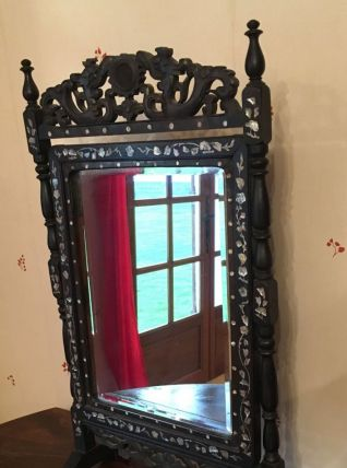 Miroir de table en bois et nacre
