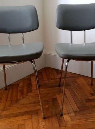 Paire de chaises en skaï vintages