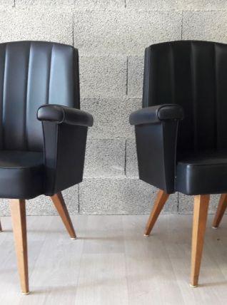 Paire de fauteuils scandinaves noir