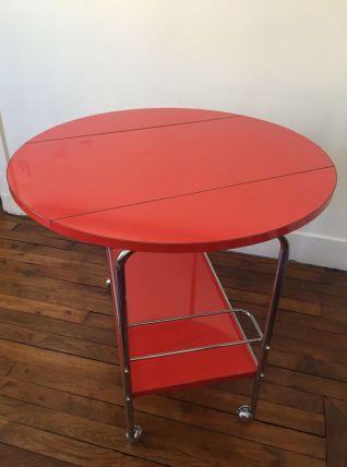 TABLE DESSERTE, CHARIOT DE BAR ANNEES 70 CONVERTIBLE TABLE