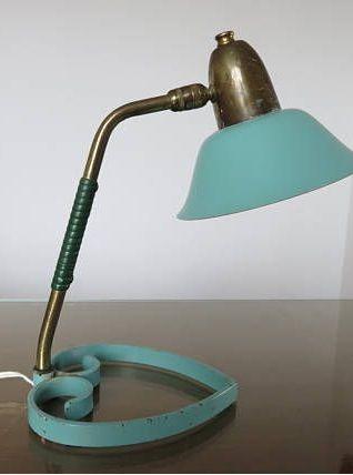 Lampe cocotte à rotule métal laqué vert pale années 50 60