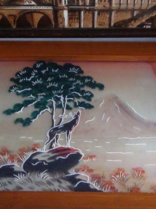 plateau art déco circa 1930 peinture sous verre