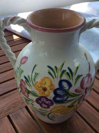 Joli vase en faïence avec anses torsadées français vintage