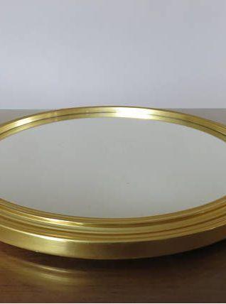 Grand plateau miroir art deco en aluminium doré années 40 50