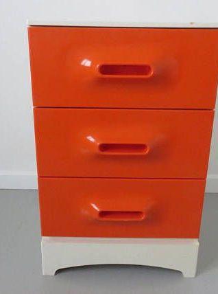 Commode Marc HELD orange années 70