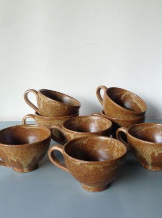 Ensemble de 8 tasses à café en grès