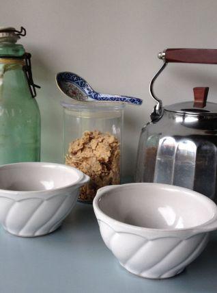 Duo de bol en céramique blanc - Années 60