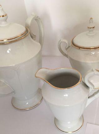 Service à café 3 pièces Limoges à filet doré