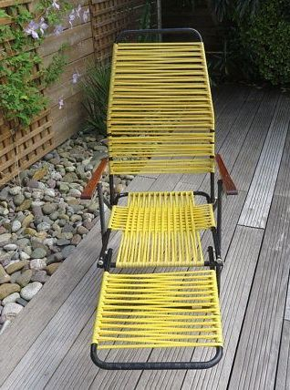 Transat chaise longue pliable années 50 60
