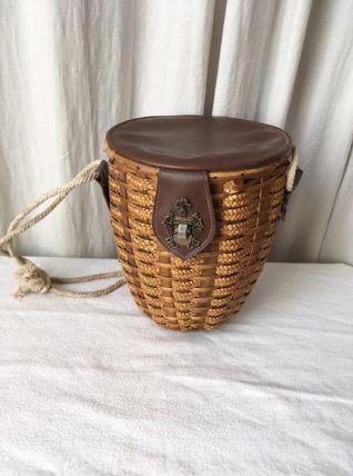 Panier vintage en osier simili cuir et corde
