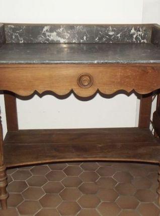 Ancienne table de toilette avec marbre