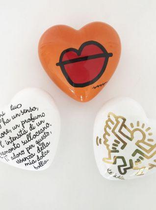 Ensemble 3 cœurs artistes céramique