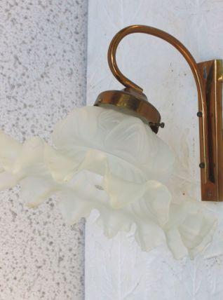 Appliques laiton et opaline florale – années 40/50