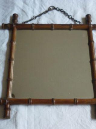 Petit miroir tour bois façon bambou 33x32cms