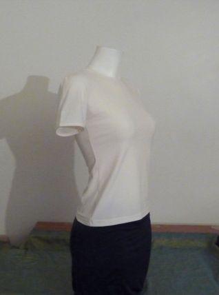 Tee Shirt Blanc Effet Velours Manches Courtes- Lea Fashion