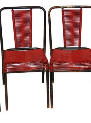 lot de 4 chaises scoubidou rouge et noir luckyfind. Black Bedroom Furniture Sets. Home Design Ideas