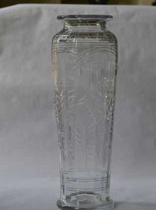 Grand vase en verre à décor floral