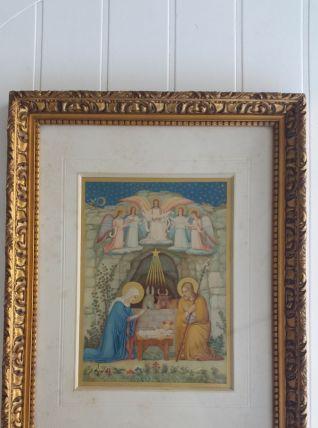 Magnifique gravure La Nativité XIV siècle