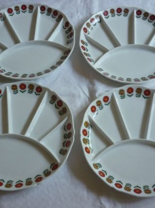 4 assiettes a compartiments porcelaine Berry fleurs