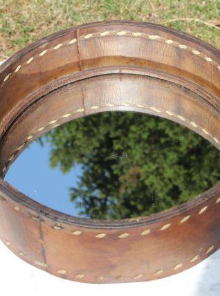 Ancien miroir rond entourage cuir 1960's
