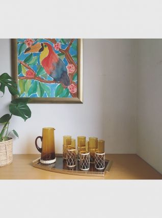 Service à orangeade en verre soufflé ambré