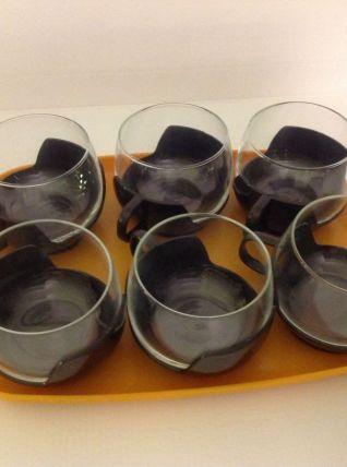 Set de 6 tasses style Melitta avec plateau vintage années 70