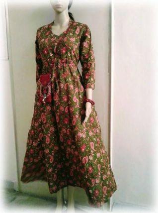 Robe longue coton indien vert/rose/paisley/fleurs