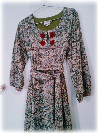Robe indienne coton block print beige,turquoise/Fleurs/S