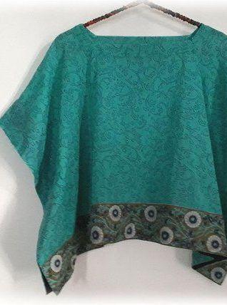 Caftan top court/coton/block print/Inde/Turquoise/T.U