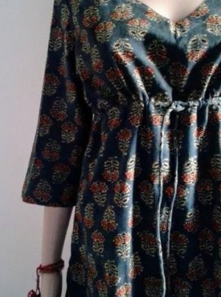 Robe/tunique courte coton indien,block print,Indigo,fleurs