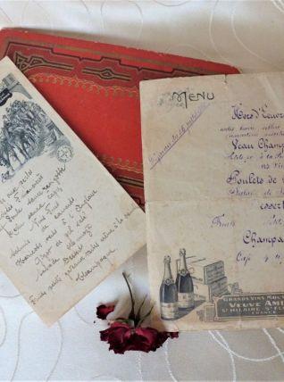 Anciens menus de mariage, Menus vintage, Menus 1926.
