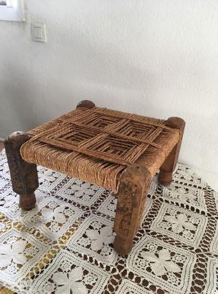 Tabouret bois et corde style ethnique.