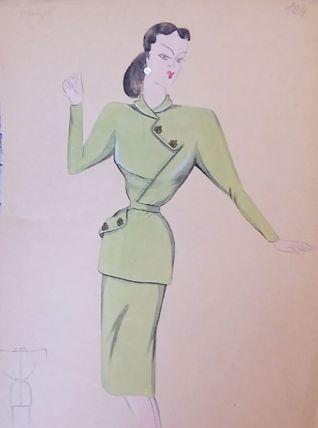 Croquis Mode 1950 série de robes