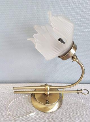 applique fleur en  verre et support métal doré