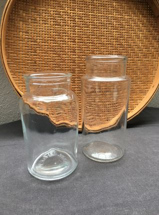 Lot de 2 pots anciens en verre transparent