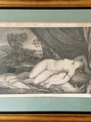 """Gravure XVIIIe d'Antoine Louis Romanet """"Le Sommeil"""""""