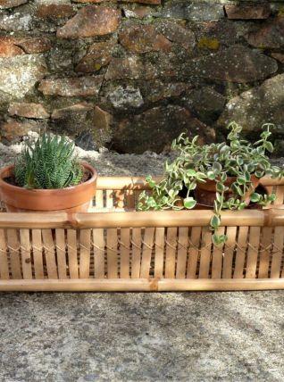 Jardinière rotin et bambou, porte-plantes, Jardin.